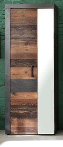 Garderobenschrank Indy in Used Wood Shabby mit Matera grau Garderobe und großer Schuhschrank 65 x 192 cm