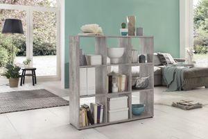 Wilmes Raumteiler mit 9 Fächern, Beton Nachbildung Melamin; 44412-57 0 57