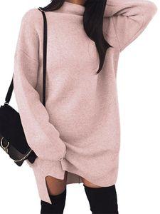 Damen locker elastischen High Neck Split Kleid Pullover Kleid Strickrock,Farbe: Pink,Größe:3XL