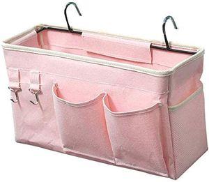 Betttasche Bett Organizer Hängetasche Hochbett Aufbewahrungstasche für Buch, Magazin, Spielzeug, Handy, Kopfhörer (Rosa)