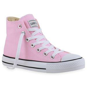 Mytrendshoe Damen High Top Sneakers Sportschuhe Stoffschuhe Kult 815214, Farbe: Rosa, Größe: 38