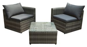 Countryside® Geflecht-Lounge-Set, 3-teilig, inkl. Tisch und Auflagen