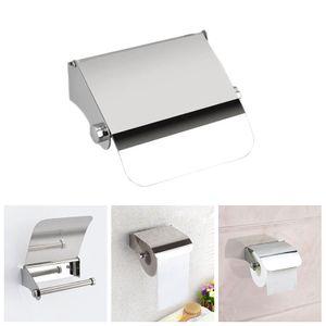 Edelstahl Toilettenpapierhalter mit Deckel WC Bad Wand Rollenhalter Papierrolle