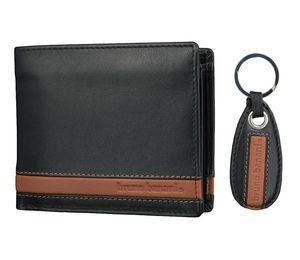 Bruno Banani Herren Geldbörse mit Schlüsselanhänger; W320/1476 Black/Cognac
