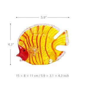 Glas gelb Fisch mundgeblasenem Glas Kunst Marine gelb Fisch Briefbeschwerer dekorative Figur Wohnkultur