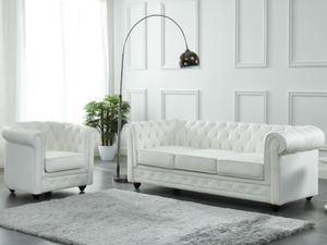 Ledersofa 3-Sitzer CHESTERFIELD - Büffelleder - Weiß