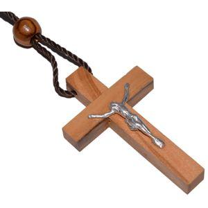 Kruzifix - Kreuz Anhänger Olivenholz mit Metall-Korpus, 4,5cm