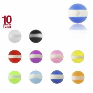 1,6 mm - 8 mm - T-LG - Transparent Light Green / Hell Grün - Acryl - Schraubkugel - weiße Streifen - 10er Pack