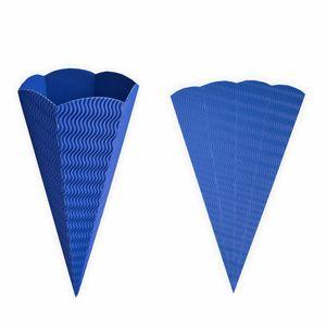 Creleo - Geschwister Schultüte 1 Stück blau aus 3D Wellpappe 41cm - Zuckertüte als Rohling zum basteln, bemalen und bekleben