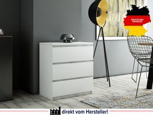 Kommode weiß 3 Schubladen Schrank Sideboard Highboard Mehrzweckschrank