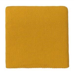 URBANARA 140x200cm Decke 'Antua' Leuchtendes Senfgelb – 100% Baumwolle – Baumwolldecke, Überwurf, Plaid, Strickdecke, Sofadecke für Bett, Sofa