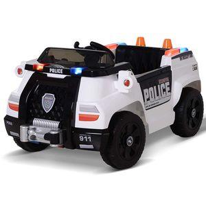 HOMCOM Kinderauto Kinderfahrzeug Elektroauto Polizeiauto mit Fernbedienung MP3 3–6 Jahre PP 106,5 x 66 x 52,6 cm