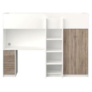 Etagenbett IRMA 90x200 mit Schreibtisch und Schrank weiß/trüffel