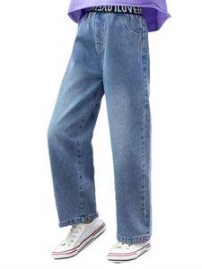 IEFIEL Mädchen Jeanshosen Mode High Waist Freizeithose Weite Beine Denim Pants Hip Hop Tanz Hose Streetwear