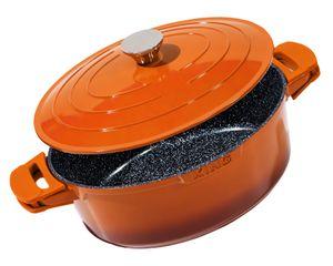 32x25cm Bräter oval ca. 12cm hoch KING® SHINE ORANGE aus Aluguss mit Keramikbeschichtung Innen: FUSION TI / mit Aluguss Deckel / inkl. Leicht abnehmbare Silikon-Pads / Farbe: Orange