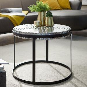 WOHNLING Couchtisch Metall 58x45x58 cm Silber / Schwarz Industrial Style Rund   Design Wohnzimmertisch mit Nieten   Moderner Loungetisch Sofatisch