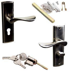 Türbeschlag Set mit Zylinderschloss und 3x Schlüssel | Türdrücker mit Einbauschloss | Haustür Türgriff Set | Profilzylinder  | 2x Türklinken | Drückergarnitur Zimmertüren | Langschildgarnitur