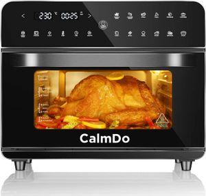 CalmDo Heißluftfritteuse 25L XXL extra groß Fritteuse Air Fryer, Airfryer Backofen mit 12 Programme,1800W Digitalen LED-Display mit 5 Zubehör und Rezeptheft,Friteuse Heissluft,Toaster,Dörrgerät,Schwarz