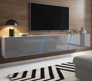 TV-Lowboard Slant Hochglanz grau Lack TV-Unterteil hängend / stehend 240 cm mit LED Beleuchtung