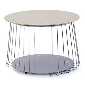 Design Beistelltisch Couchtisch Riva cappuccino Glas Metall