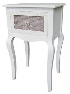 Casa Padrino Landhausstil Telefontisch Hellgrau / Braun 40 x 32 x H. 68 cm - Handgefertigter Beistelltisch mit Schublade