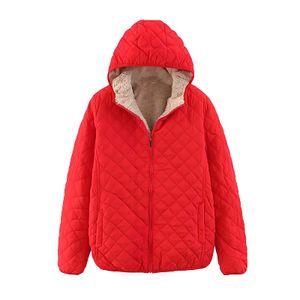 Damenmode Casual O-Neck Hood Einfarbig Langarm Lose Baumwollmantel Größe:M,Farbe:Rot