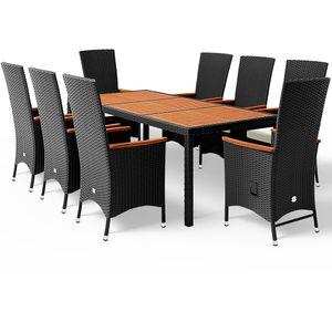 Casaria Poly Rattan Sitzgruppe 8 Gartenstühle Neigbare Rückenlehne 7cm Auflagen Tisch 190x90 cm Akazie Holz Gartenmöbel Set