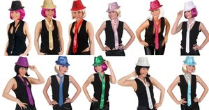 Pailletten Krawatte pink, Langbinder