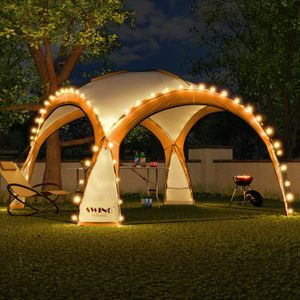LED Event Pavillon 3,6 x 3,6m DomeShelter Garten Pavillion inkl. Solarmodul Pavilion Designer Gartenzelt Camping Pavilon Partyzelt mit Beleuchtung - orange