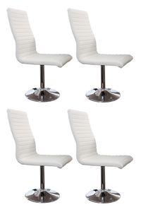 SalesFever Esszimmerstuhl 4er Set | Bezug Kunstleder | Gestell Metall Chrom-Optik | 360 Grad drehbar | B 45 x T 65 x H 106 cm | weiß