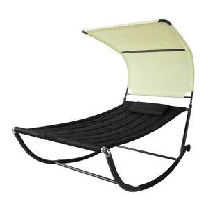 SoBuy OGS44-SCH Sonnenliege mit Sonnendach und Kopfkissen Gartenbett Gartenliege mit Rollen Relaxliege Schaukelliege Schwarz/Beige Belastbarkeit 200 kg