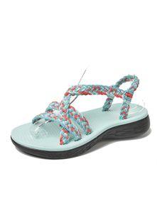 Abtel Flache Sandalen Für Damen Mit Geflochtenem Riemen Summer,Farbe:Blau Rot,Größe:37