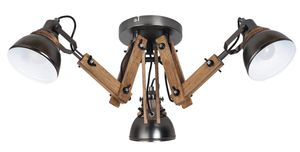 Deckenleuchte Aksel aus Holz Metall Buche/ schwarz Ø60cm H:28cm