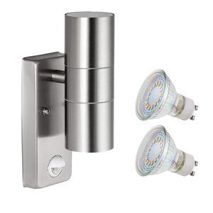 LED Aussenleuchte mit Bewegungsmelder, Wandleuchte Edelstahl, Up Down SEBSON