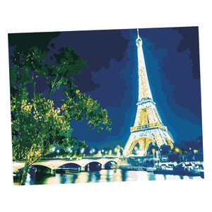 Diy Kunstdruck Wandbild ( sich die Farben füllen ), Malen nach Zahlen, Wohnzimmer Schlafzimmer Nachbildungaion 6657 40x50cm Eisenturm