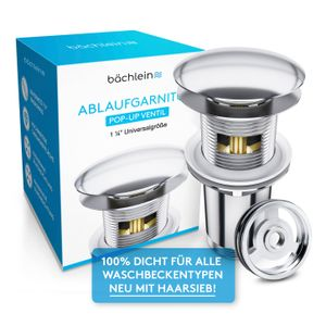 Bächlein Pop Up Ablaufgarnitur mit Überlauf für Waschbecken & Waschtisch - Chrom