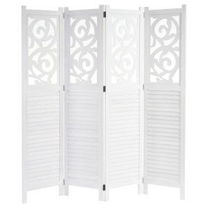 Paravent Istanbul, Raumteiler Trennwand Sichtschutz, Ornamente  170x160cm, weiß