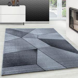 Designer Teppich Modern Kurzflor Abstrakt Geometrisches Design Schwarz Grau, Farbe:GRAU,200 cm x 290 cm