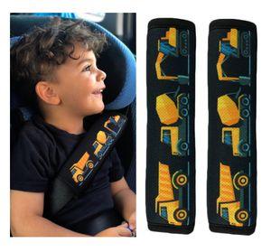 2x HECKBO Auto Gurtschutz Sicherheitsgurt Schulterpolster Schulterkissen Gurtschoner Autositze Gurtpolster für Kinder, Jungen/Jungs mit Baufahrzeuge, Bagger