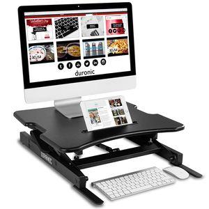 Duronic DM05D18 Workstation   Sitz-Steh Schreibtisch   Monitorhalterung   Stehpult   Computertisch   Stand-Up Workstation für Tastatur   Maus   Notizen - Höhenverstellbar von 15 bis 42 cm