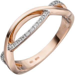 JOBO Damen Ring 56mm 585 Gold Rotgold bicolor 20 Diamanten Brillanten Diamantring
