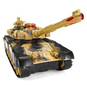 44cm Battle Panzer Fernbedienung 2.4Ghz RC Ferngesteuerter Tank Kettenfahrzeug mit LED Kinder Spielzeug Geschenk , Braun