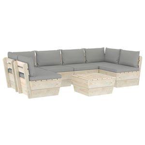 vidaXL 7-tlg. Garten-Sofagarnitur aus Paletten mit Kissen Fichtenholz