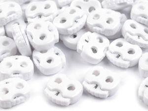 10 Kordelstopper mit zwei Löchern 20x20mm, Durchzug 5mm, Farbe:weiß