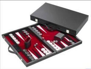 Philos 1730 - Backgammon Filzinlet rot-weiß-schwarz, medium, Koffer Kunstleder 4014156017306