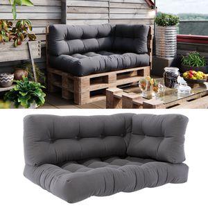 Vicco Palettenkissen Set Sitzkissen + Rückenkissen + Seitenkissen 15cm hoch Palettenmöbel Flocke grau