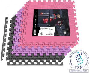 Hop-Sport Puzzlematte 9er Set - Unterlegmatte für Fitnessgeräte als Rutschfester Bodenschutz - Größe 60 x 60 x 1 cm  -  Grau/Lila/Rosa