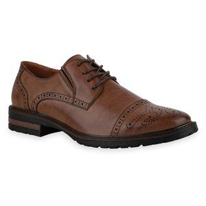Mytrendshoe Herren Halbschuhe Brogues Schnürer Cut-Outs Profil-Sohle Schuhe 836007, Farbe: Braun, Größe: 42