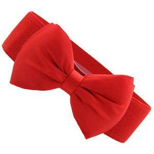 Art Und Weise Frauen Bowknot Breite Stretch Schnalle Bund Hüftgurt Roten Schleife