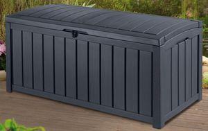 KETER-Glenwood Box 390 Liter-Auflagen- und Universalbox in Holzoptik-anthrazit-6003EC